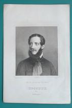 LAJOS KOSSUTH Hungarian Nobleman President - 1840s Antique Portrait Print - $31.50