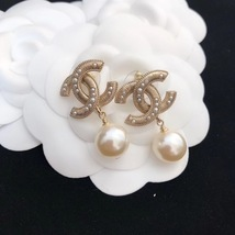 SALE* AUTHENTIC CHANEL LARGE CC LOGO PEARL GOLD DANGLE DROP EARRINGS image 1