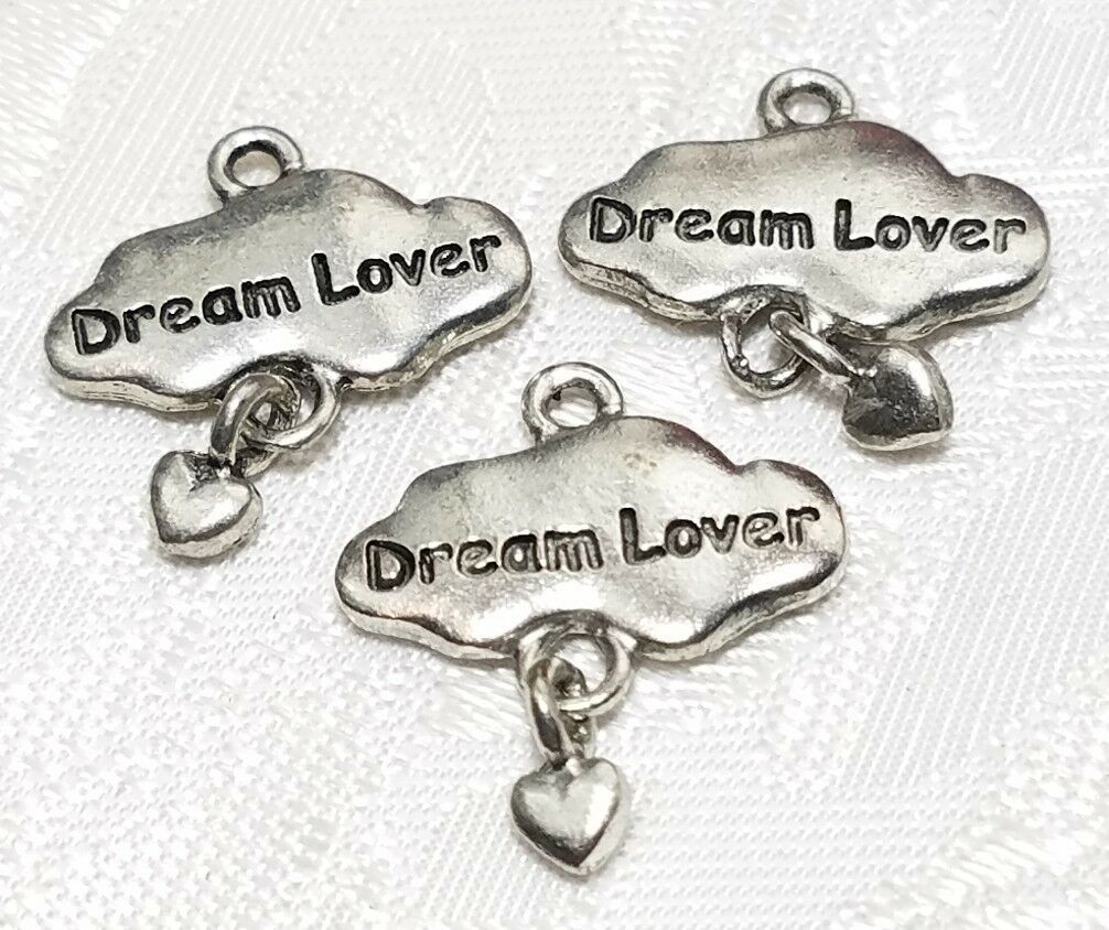 DREAM LOVER CLOUD WITH DANGLE HEART FINE PEWTER PENDANT CHARM - 19x21x2mm