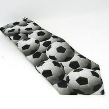 """Just Balls Soccer Necktie Ralph Marlin 57"""" Black White Gray 1995 Tie - $16.74"""