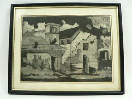 VTG Black/White Graphite Pencil/Ink Drawing of Buildings 1980s Signed by... - $25.00