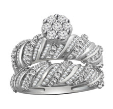 3 CT Round & Baguette Diamond Engagement & Wedding Bridal Set 10k White Gold - $306.89