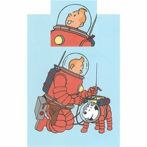 Tintin & Snowy Space walk, single duvet cover set with square pillow image 2