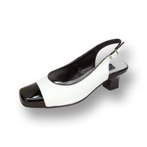 PEERAGE Cece Women Wide Width Black-White Block Heel Leather Slingback P... - $49.45