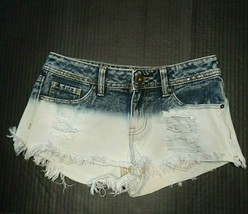 Bullhead Shorts Booty Juniors Size 1 Distressed Dyed Bleached Frayed Hem... - $11.19