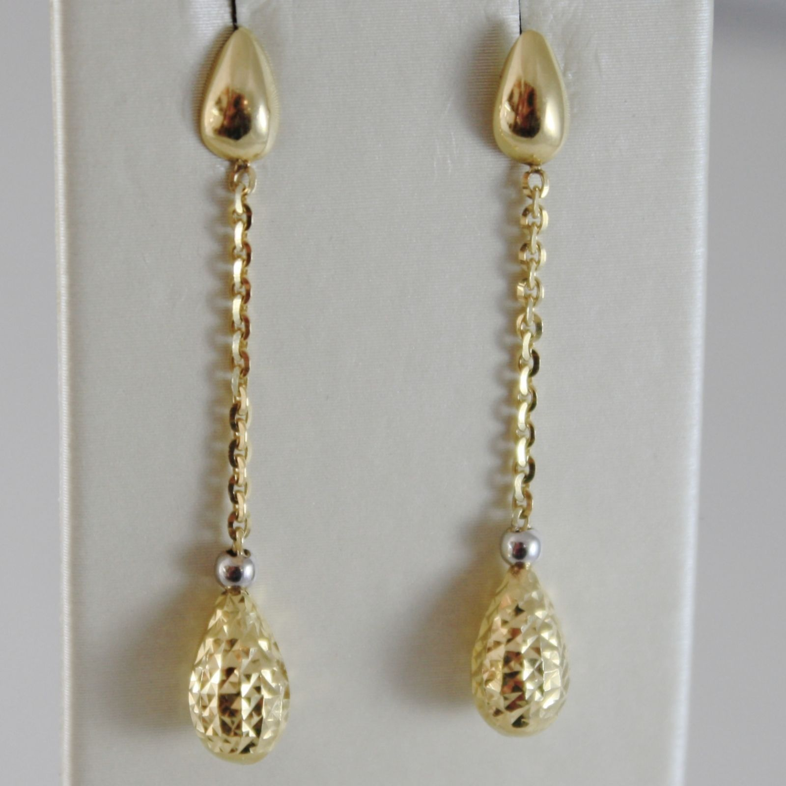 18K YELLOW & WHITE GOLD PENDANT EARRINGS WITH WORKED DROPS, DROP, MADE IN ITALY