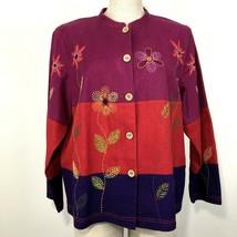 Coldwater Creek Womens Jacket Linen Blend Size Petite L Color Block Embr... - $19.65