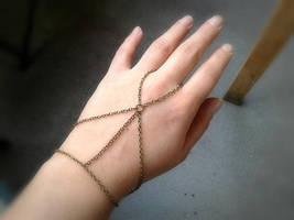 Slave Bracelet Antique Brass Hand Chain Bohemian Slave Bracelet Ring Har... - $47.00