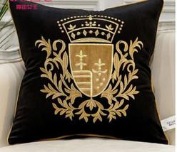 Luxury Designer Velvet Royal Crown Emblem Fleur De Lys Embroidered Square Piped  - $36.00