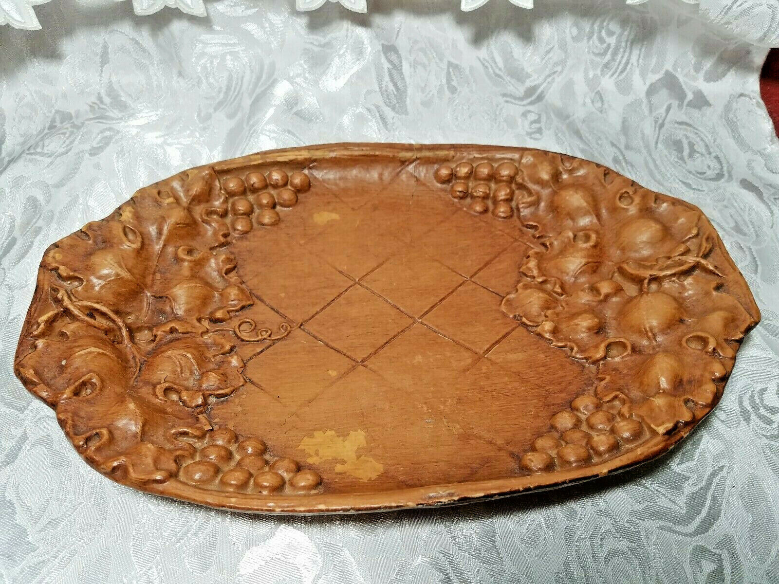 Vintage Burwood Tray Bowl Dish Grapes and Leaves