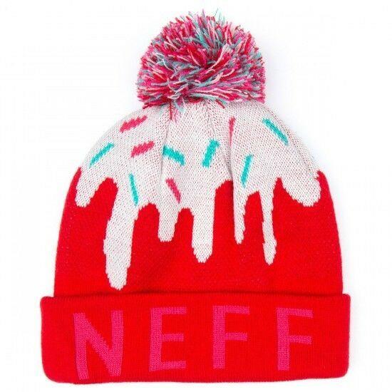 Neuf Neff Filles Femmes Rouge Rose Doux Pompon Bonnet Hiver de Ski 15F05043 Nwt