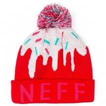 Neuf Neff Filles Femmes Rouge Rose Doux Pompon Bonnet Hiver de Ski 15F05043 Nwt image 1