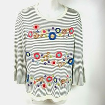 Talbots Sweater Size Small Crew Neck Floral Beads Sequin embroidery Stri... - $12.84