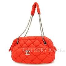 CHANEL Bubble Quilt Fabric Red Chain Shoulder Bag A46168 Italy Authentic... - $905.05