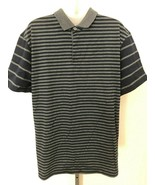 NWT! Mens BENCH sz L/XL navy blue gray striped semi fitted polo style shirt - $16.82