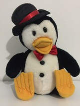 1987 Dakin Fun Farm Penguin With Hat Plush Toy  Black White Red Bow Tie ... - $44.54