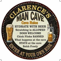 """CLARENCE'S Man Cave Rules 14"""" Round Metal Sign Garage Wall Decor 1001400... - $25.95+"""