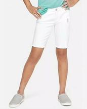 Justice Girl's Size 8 Slim Destructed Fray Hem Denim Bermuda Shorts in White - $19.79