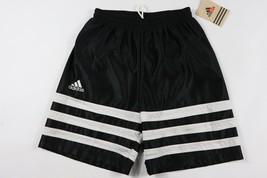 Vintage 90s Neuf Adidas Homme Petit Sort Out Rayé Football Short Noir Blanc - $51.66