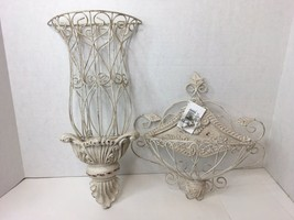 New Shabby Farmhouse Chic Set 2 Off White Wire Wall Baskets  Rustic Dist... - $39.99