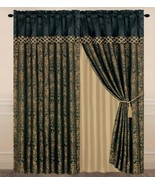 4-Piece Lisbon Jacquard Floral Window Curtain Set Black/Gold - $42.99