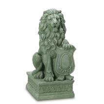 Garden Statue Lion, Guardian Lion Yard Statue - Faux Carved Stone Poly R... - $80.99