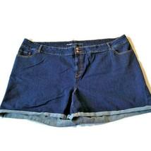 Old Navy Plus Size Shorts Sz 30 4x Cuffed Stretch Dark Blue Denim Jean C... - $23.75