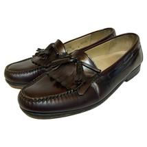 Cole Haan Mens Leather Pinch Tassel Loafers Burgundy Oxblood CO2692 Size... - $39.59