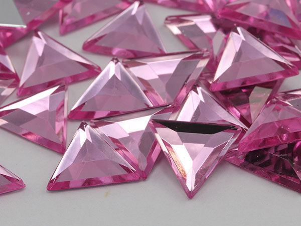 5mm Pink Lite Pink A03 Flat Back Acrylic Triangle Gemstones - 150 Pieces