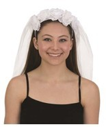 Jacobson Hat Company 28301 Wedding Veil Headband 28 Inch with Flowers Ba... - £7.69 GBP