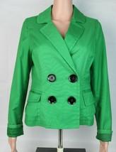 Express Design Studio women's jacket blazer button front green pockets s... - $21.78