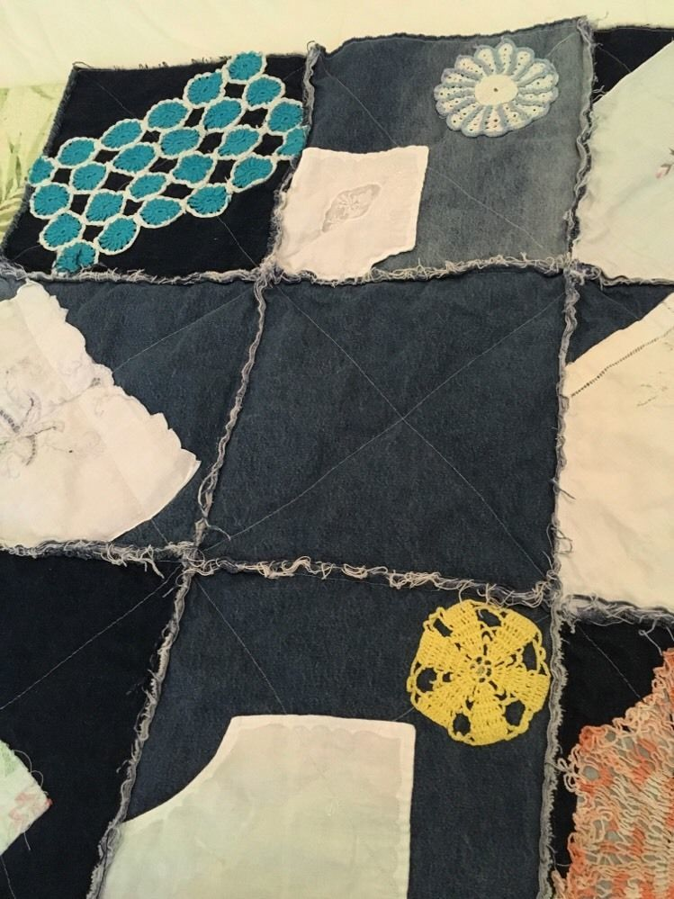 Handmade denim and Fleece rag lap quilt With Vintage Handkerchiefs/doilies