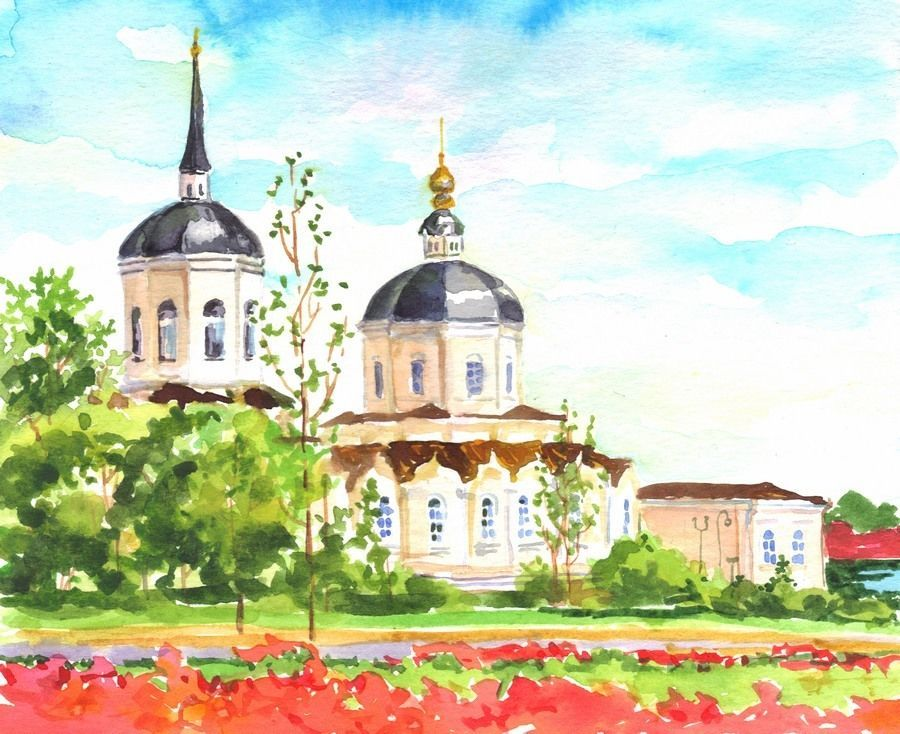 "Akimova: TOMSK. RUSSIAN TOWN, cityscape, watercolor and pencils, 5""x7"""
