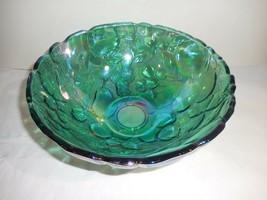 Indiana Medeira Iridescent Green Textured Serving Large Bowl Fruit Patte... - $28.99
