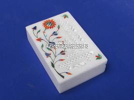 "6""x4""x2'' White Marble Storage Jewelry Box Floral Work Filigree Arts Inlay Decor - $115.78"