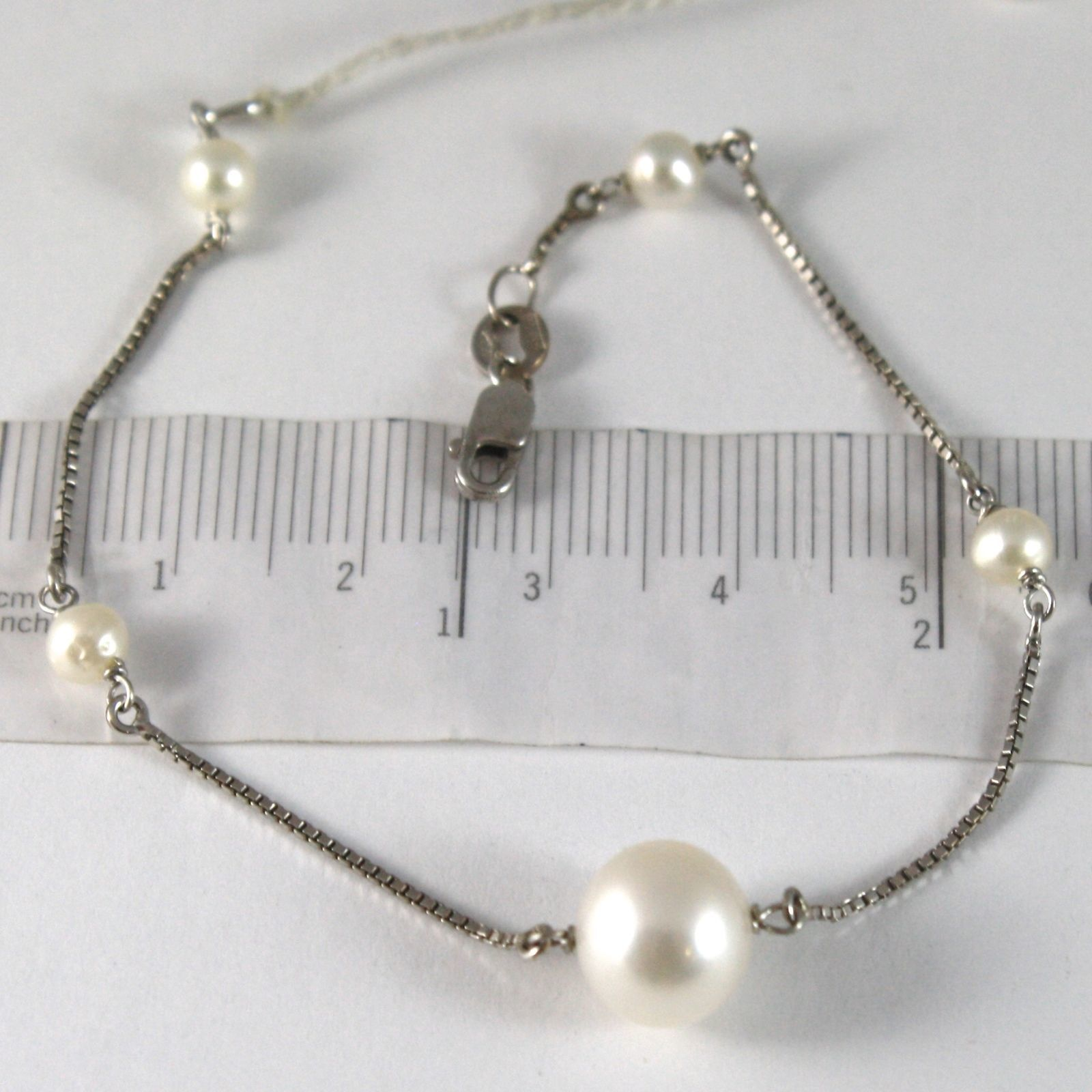BRACELET WHITE GOLD 750 18K, WHITE PEARLS DIAMETER 4 E 10 MM, CHAIN VENETIAN