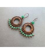 boho copper earrings green aventurine.   - $30.00