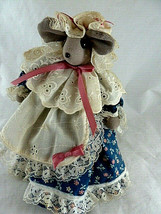 """Vintage cloth Mouse doll handsewn crafted weighted plush 8"""" tall plush - $11.13"""