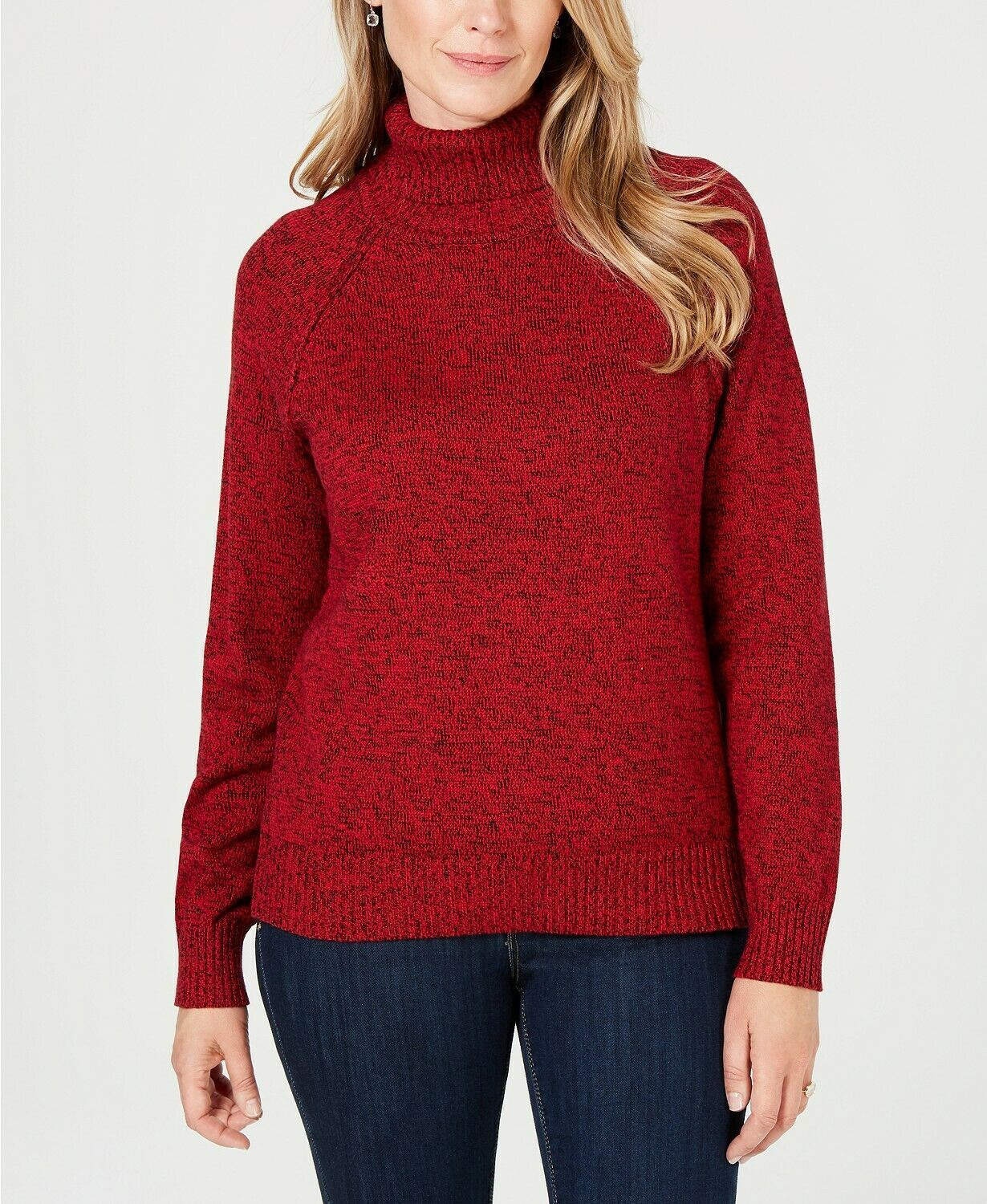 Primary image for Karen Scott Women's Red Amore Marl Ribbed-Knit Turtleneck Sweater Size Large $46