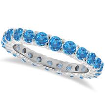 1ct Topaze Bleu Bague Éternité 14K or Blanc - £459.25 GBP+
