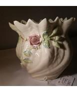 Porcelain Belleek Fine Parian China Shamrock Rose Cache Pot Vase 7th Brown Mark - $29.51