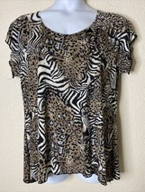 Brittany Black Womens Size XL Animal Print Sequin Blouse Short Sleeve - $14.85