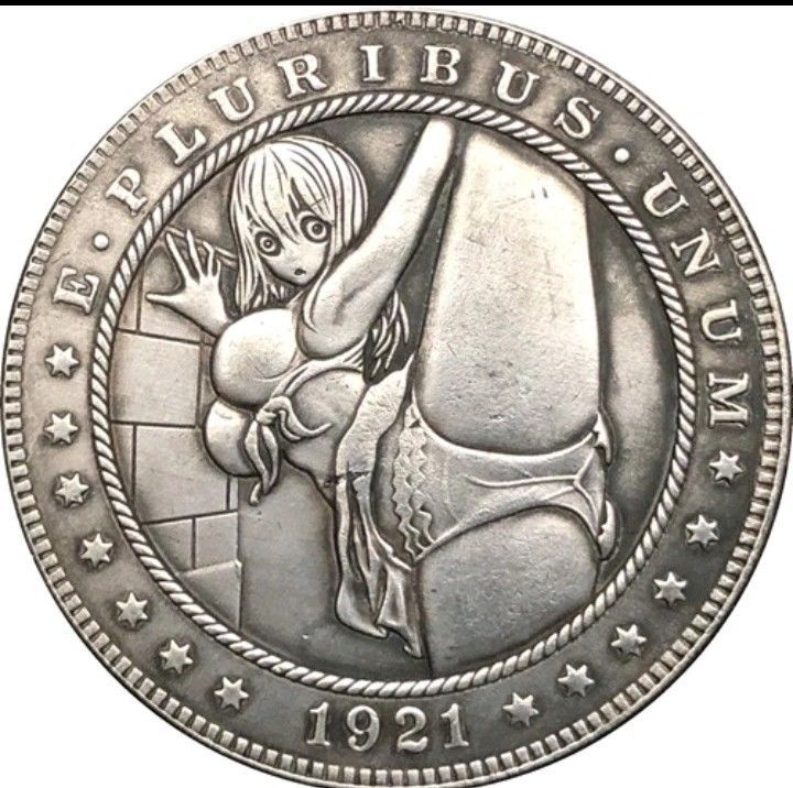 Primary image for Hobo Nickel 1921 USA Morgan Dollar Kinky Girl Bikini leg Up Coin Anime Casted