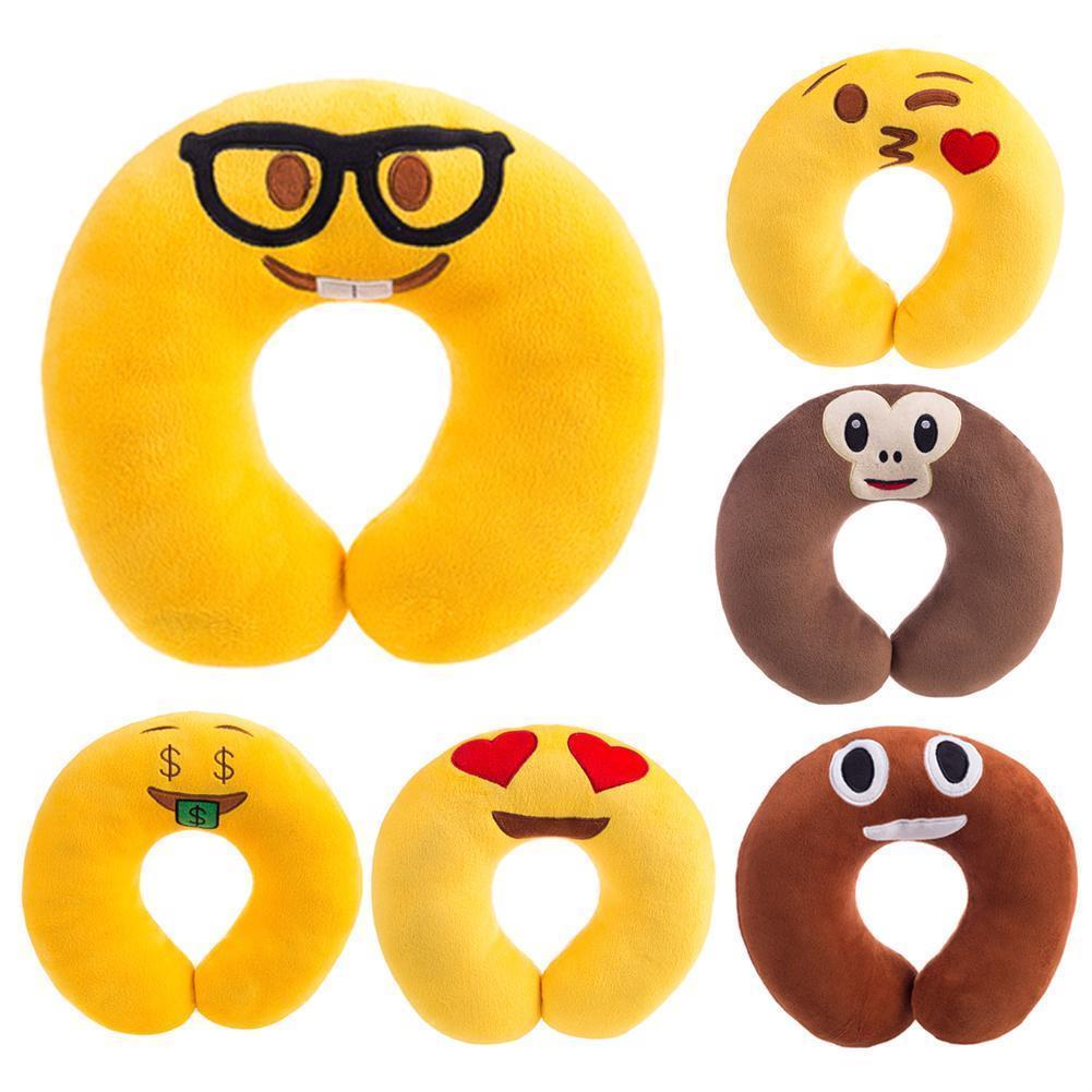 Travel Pillow Cute Cartoon Emoji Pattern Neck Pillow Soft Head Rest Pillow