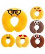 Travel Pillow Cute Cartoon Emoji Pattern Neck Pillow Soft Head Rest Pillow  - £7.63 GBP