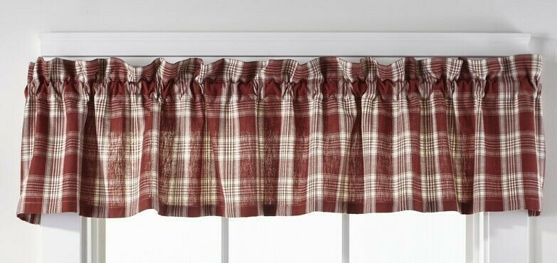 Primary image for country rustic farmhouse cabin kitchen Barnyard red white plaid VALANCE curtain