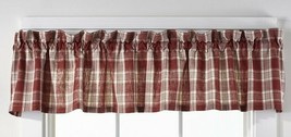 country rustic farmhouse cabin kitchen Barnyard red white plaid VALANCE curtain - $24.95
