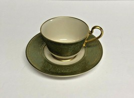 Vintage Franciscan Crown Renaissance Tea Cup and Saucer, Green and Gold - $14.95