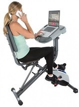 Exerpeutic WorkFit 1000 Fully Adjustable Desk Folding Exercise Bike With... - £255.82 GBP