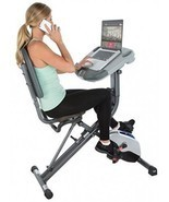 Exerpeutic WorkFit 1000 Fully Adjustable Desk Folding Exercise Bike With... - £250.20 GBP
